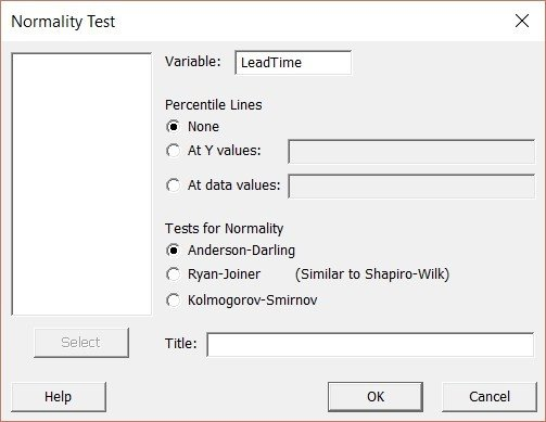 normality test dialog