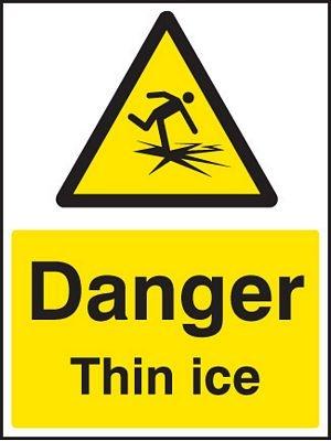 Danger thin ice sign